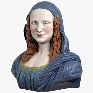 decorative bust mona lisa 3d model