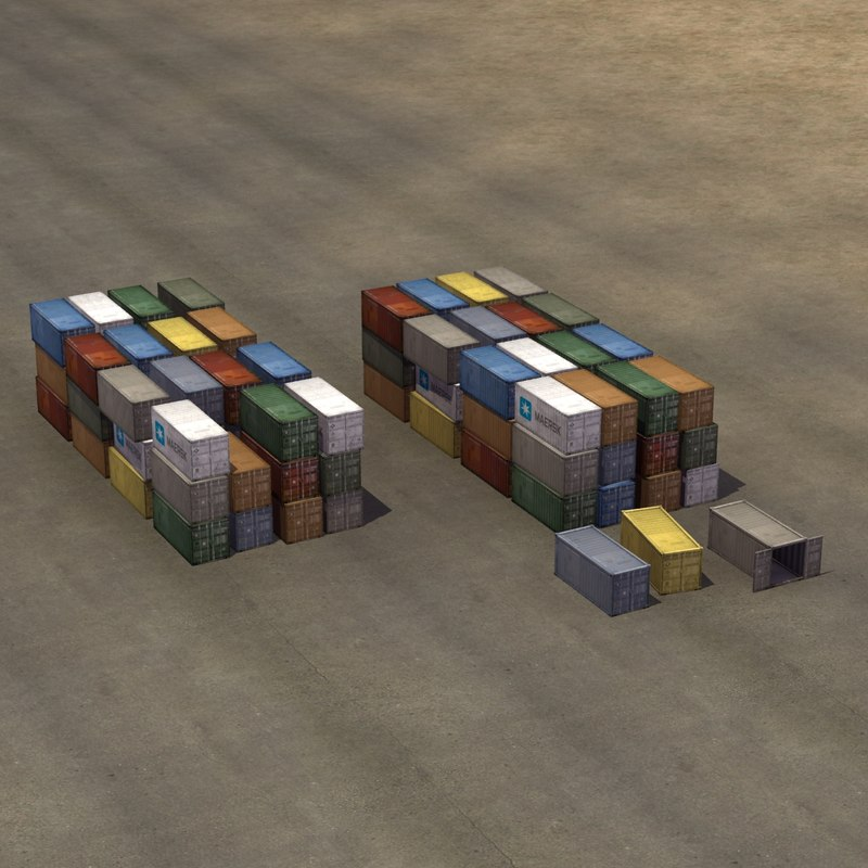 stack iso shipping containers 3d max