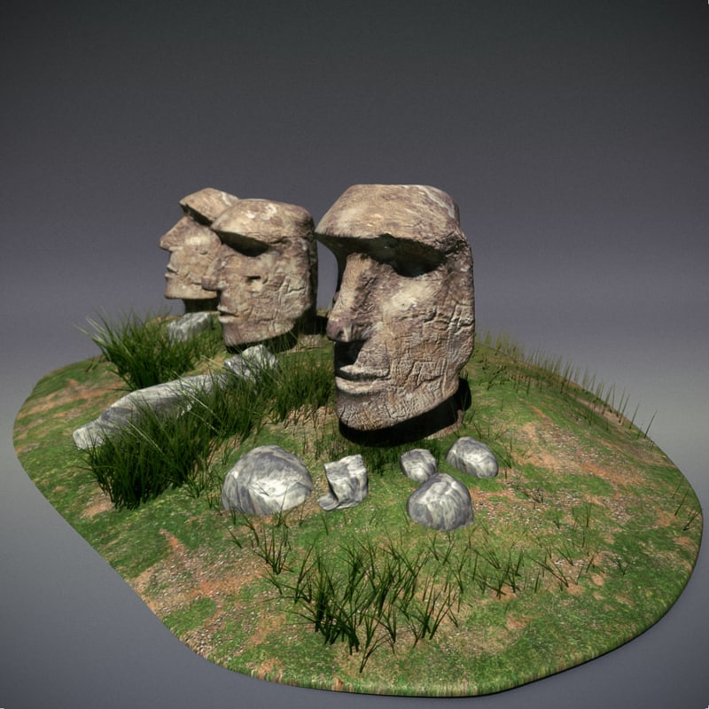 easter moai wonder statues 3d max