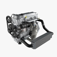 3d model generic 4 cylinder car engine