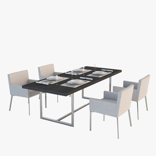 modern table set 3d model