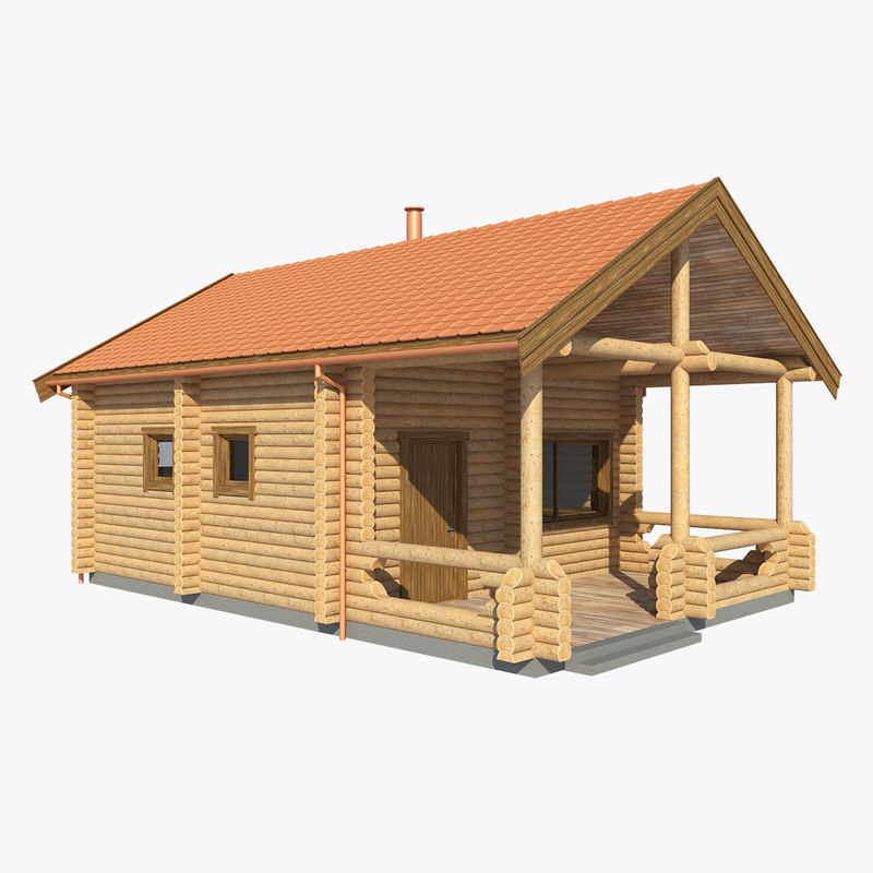 realistic log house mh 3d max