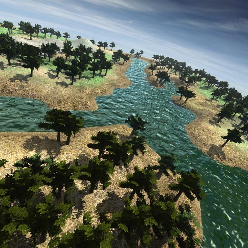 mountain landscape river 3d model