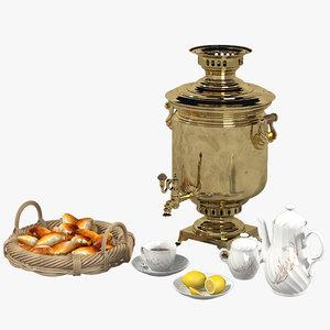 russian samovar tea set 3d model