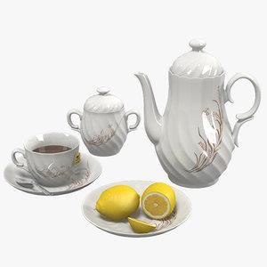 tea set porcelain 3d model
