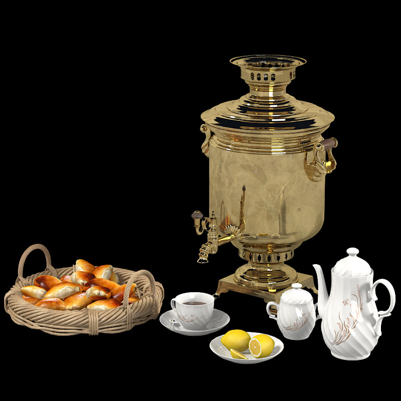 russian samovar tea set 3d model. Black Bedroom Furniture Sets. Home Design Ideas