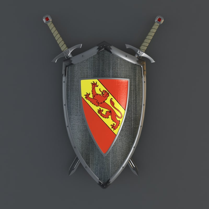 shield sword hangers 3d model
