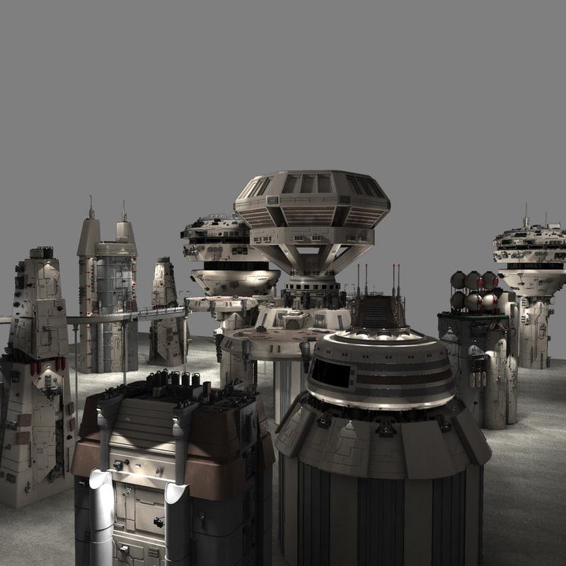 3ds max futuristic sci fi buildings