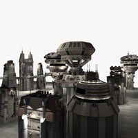 3ds max futuristic sci fi buildings