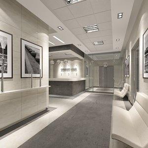 3d model company office lobby