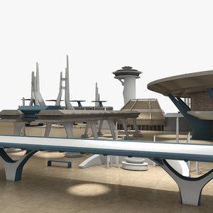 retro futuristic city 3d max
