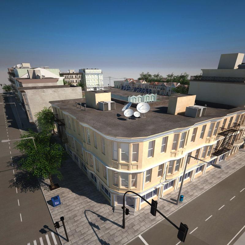 realistic hd city block 3d max