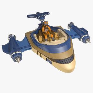 3d sci-fi glider model