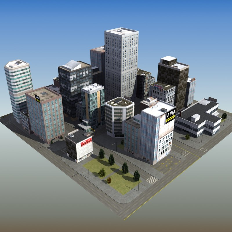 office city block 3d model