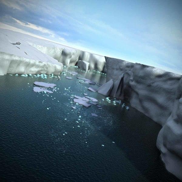 antarctica glaciers icebergs ice 3d max