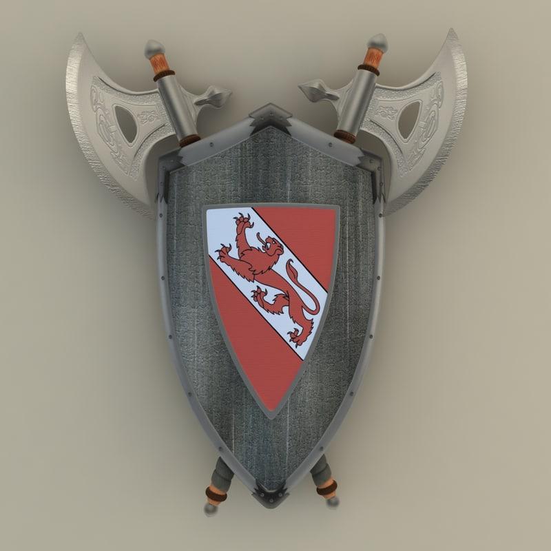 3dsmax shield axe hangers