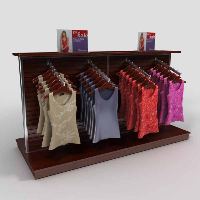women blouses display rack 3d 3ds
