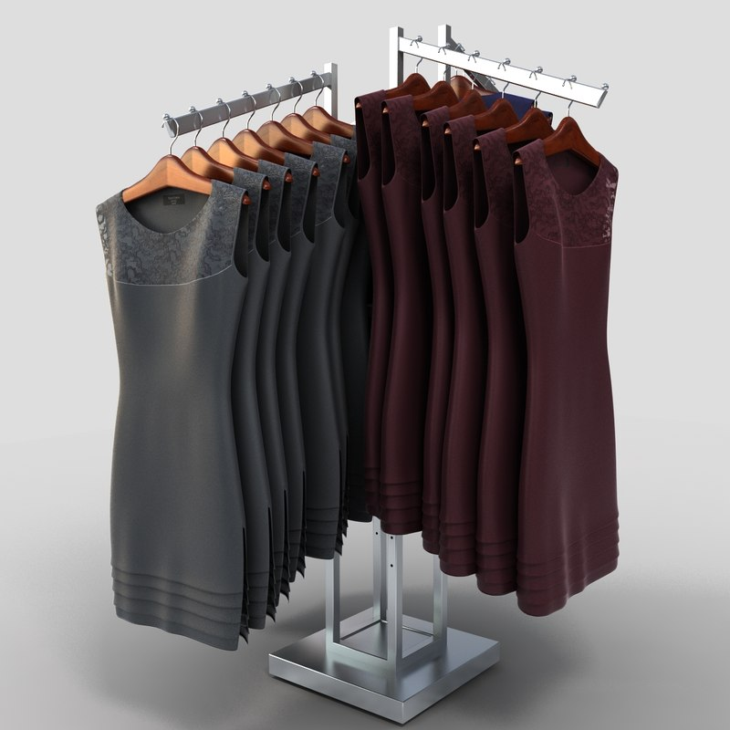 3d model womens dresses rack
