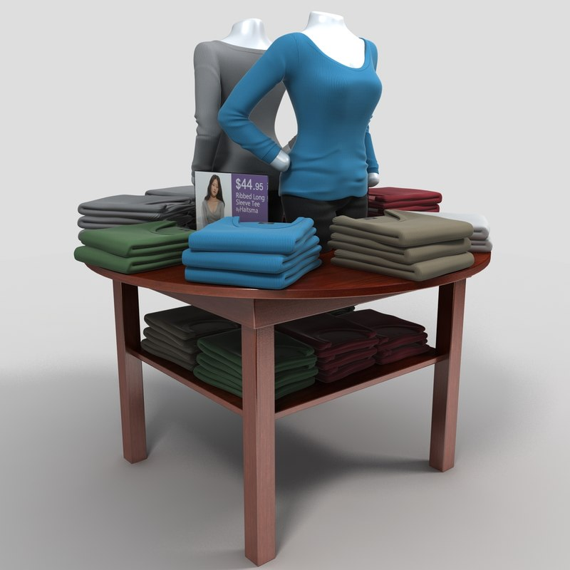 table long shirts 3d model