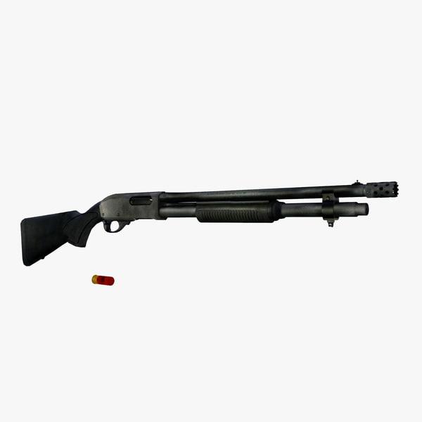 remington 870 shotgun weapons 3d model