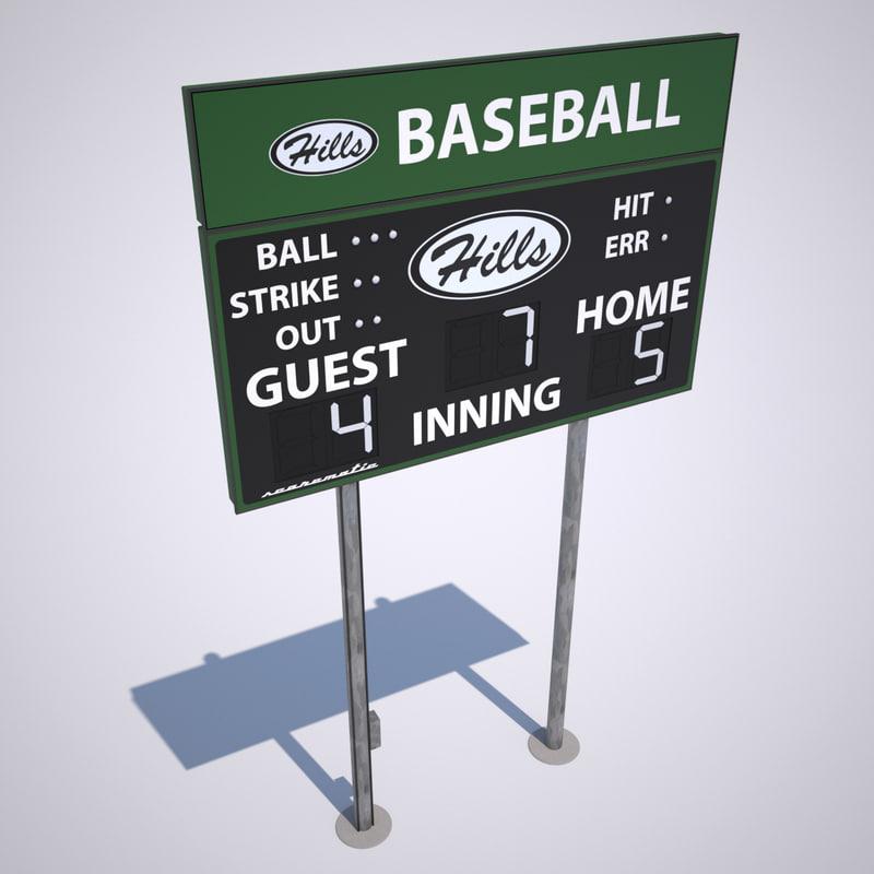 3d baseball scoreboard scores board