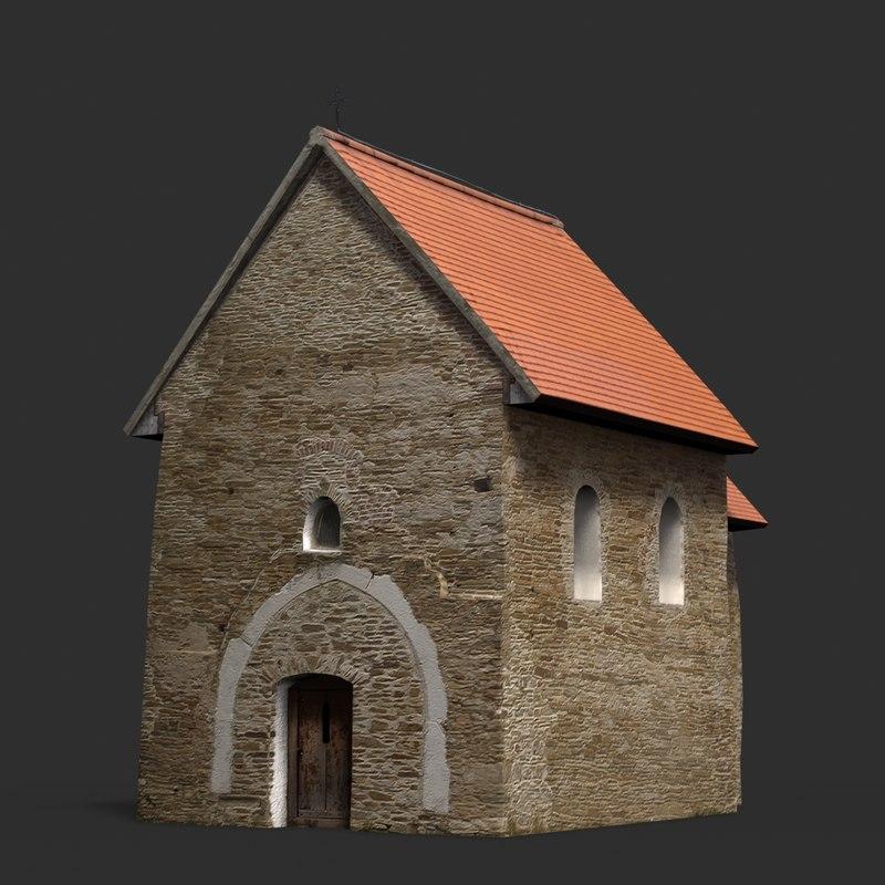 obj gothicized church kopcany