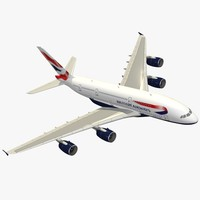 airbus a380-800 british airways 3d model