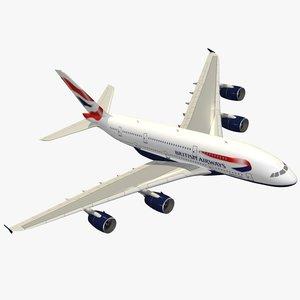 airbus a380-800 british airways 3d model