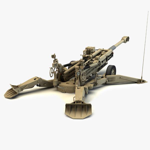 3d model m777 howitzer