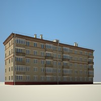 3d model outdoor brick building