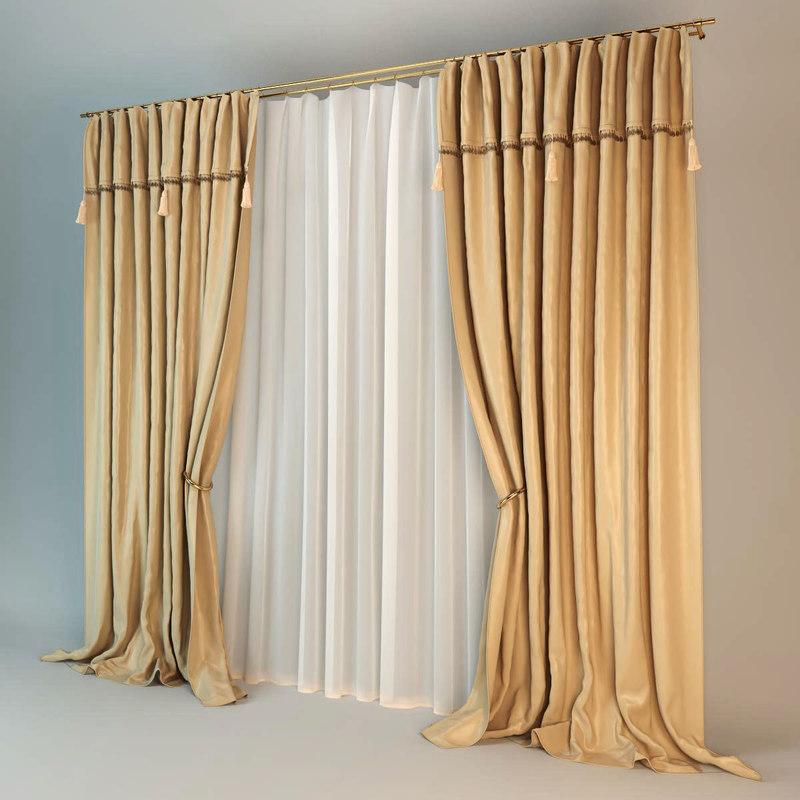3d model curtain silk