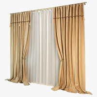 3d model curtain silk