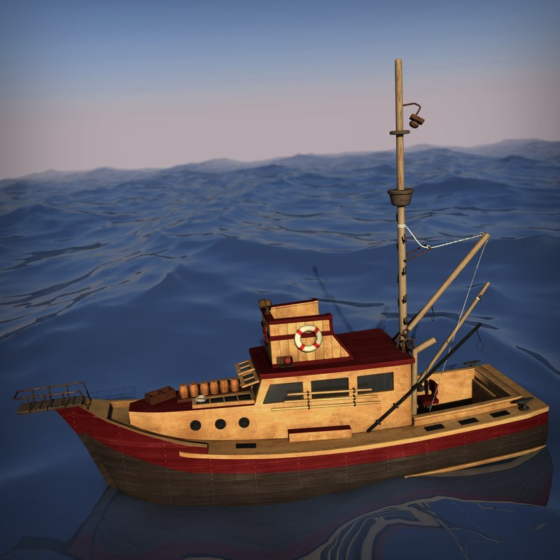 3d wooden fishing boat