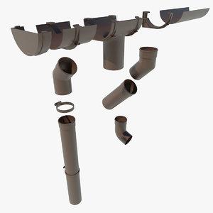 gutters rain water 3d model