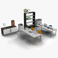 3d model modern office set 04