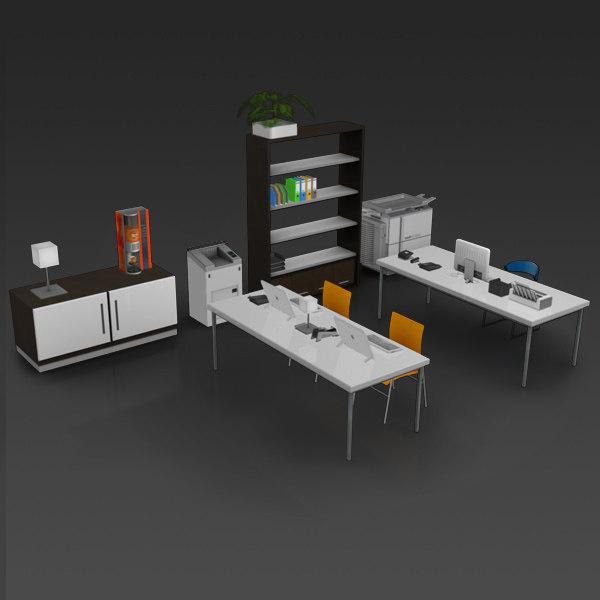 3d model modern office set 04