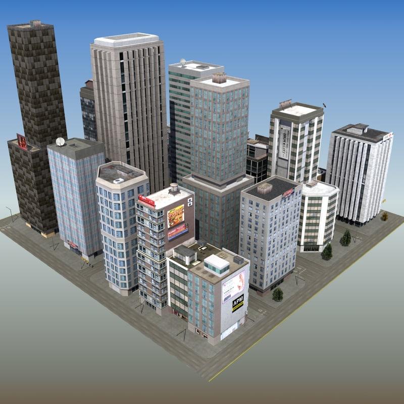 3d downtown skyscraper city block