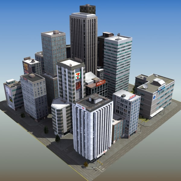 3d downtown skyscraper city block