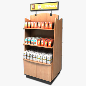 3d coffee display rack model