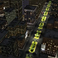 3D City Night Scene