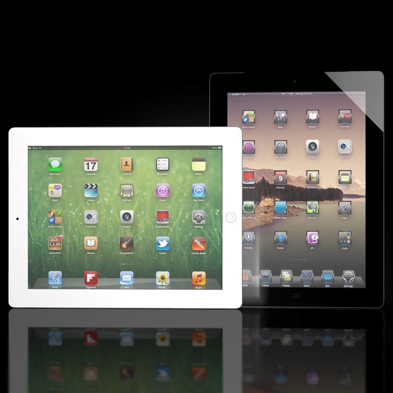 3d new ipad 2012 black model