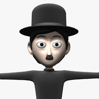 cartoon character charlie chaplin 3d model