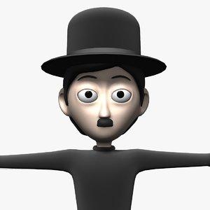 cartoon character charlie chaplin 3d model