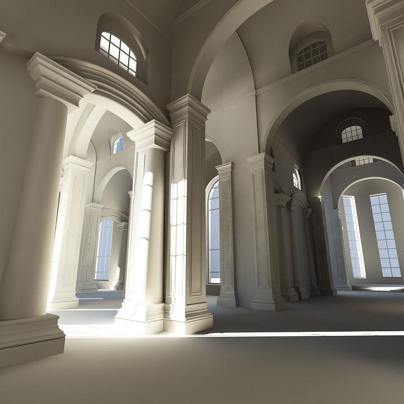3d classic interior scene 1