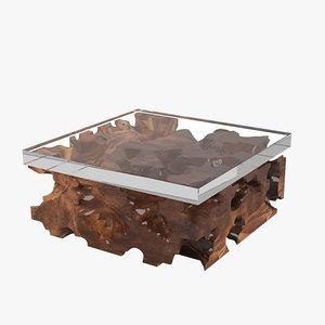 hudson furniture teak root 3d model
