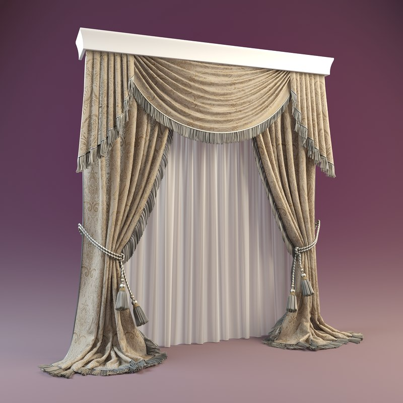 curtain modeled 3d max