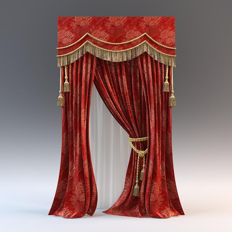 curtain modeled fabric 3d model
