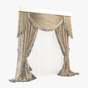 crossed curtain 3D models