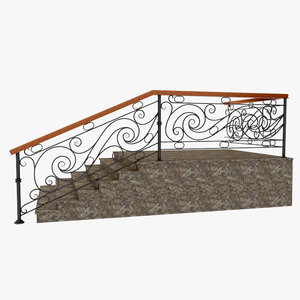 3d wrought iron stair railing model