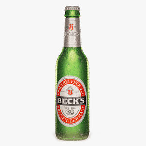 3d photorealistic cold bottle becks
